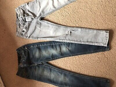 2 Pairs, Bundle. Boys Next Jeans. Super Skinny And Skinny. Age 8. Grey. Blue.