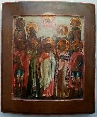 "Antique 19c Russian Orthx Hand Painted Wood Icon ""Selected Saints"""