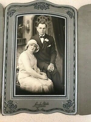 Rare Old Vintage Wedding Bride Groom Cabinet Photo From Lincoln Studio Milwaukee