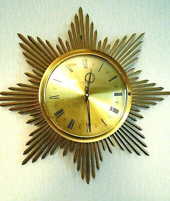 Vintage 1960's Junghans Ato-Mat sunburst starburst beams wall clock battery 46cm
