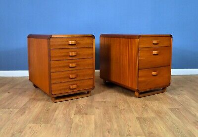 Pair of Mid Century Danish Teak Office Pedestals Cabinets Chests with Drawers