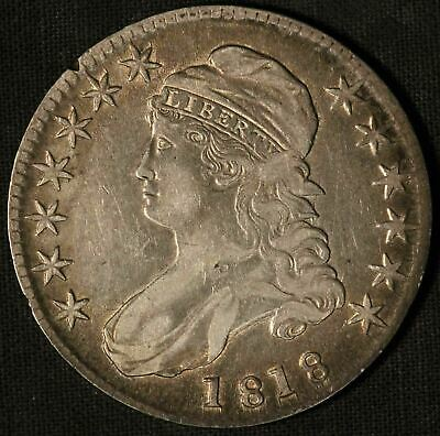 1818 United States Capped Bust 50c Half Dollar w/Toning - Free Shipping USA
