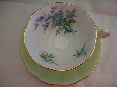 Royal Albert  Avon Shape CUP & SAUCER - Pastel Green with Forget-Me-Nots
