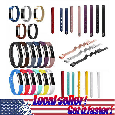 US Silicone Milanese Stainless Steel Watch Band Bracelet Strap For FitBit Alta 0