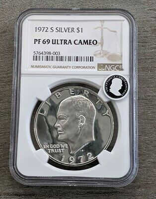 1972-S 40% Silver Proof Eisenhower Dollar NGC PF 69 Ultra Cameo - US Coin