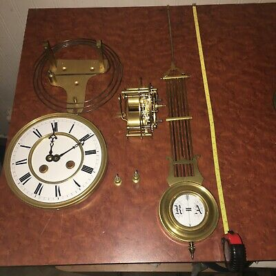 Rare Antique French Chiming Wall Clock Movement & Parts Dial Pendulum Rods