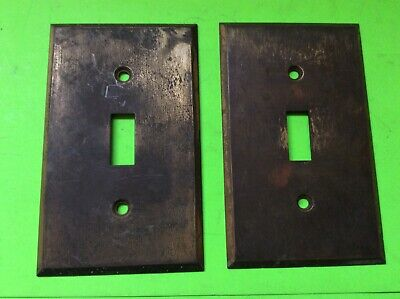 2 Antique Salvage Solid Brass Electrical Switch Cover Plates