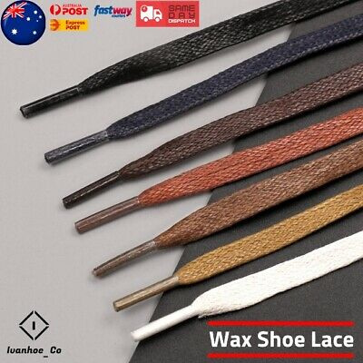 Flat Premium Cotton Wax Shoelaces Thin Dress Waxed Laces 7mm For Dress Shoes AUS