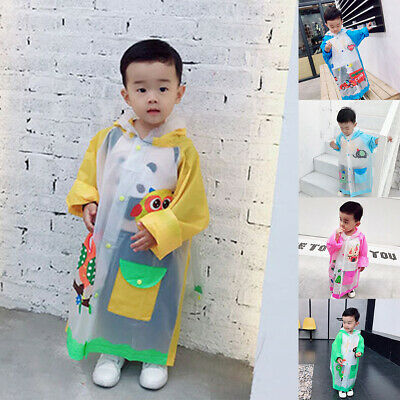 Wr_ Cute Cartoon Raincoat Children Kids Waterproof Poncho With Backpack Position