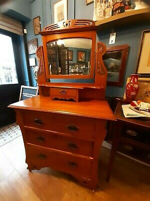 Antique Dressing Table with Mirror and Three Drawers. Edwardian Satin Wood