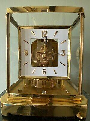 "JAEGER LeCOULTRE ""ATMOS"" SQUARE DIAL Brass Clock Vintage Swiss Made 15 Jewels"