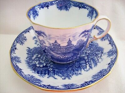 AYNSLEY  Blue Scenery CUP & SAUCER - Asian? Lots of flowers