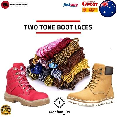 TWO TONE Bootlaces Shoelaces Sneakers Hiking Casual Shoe Work Boot Laces AUS