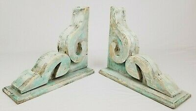 Vintage Wooden Corbel Wood Shelf Brackets Chippy Cottage Reclaimed Salvage Pair