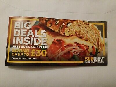 Subway Voucher Booklet of money off vouchers Scotland valid till 31.05.2020