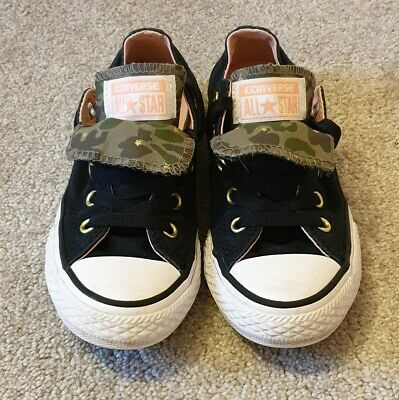 Girls Converse All Star Trainers - Black/pink & Camo - Size 12 **VGC**