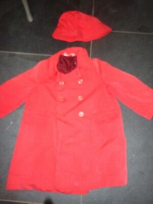 Vintage Chilprufe Coat & Hat Double Breasted Mac Southwester Red  Age 3-4 prop