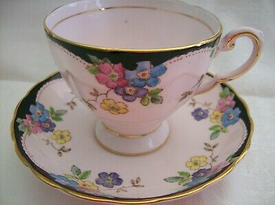 TUSCAN Pink CUP & SAUCER 9604 Hand Painted Flowers with Black Trim