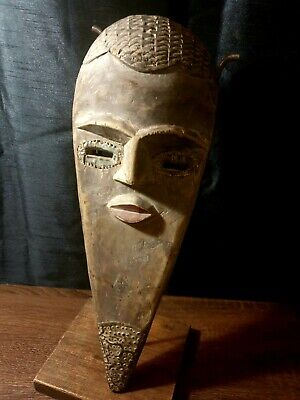 Mask African Carved Wood Tribal Wall Hand Vintage Art Wooden BIG  mask 1235