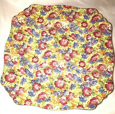"""Vintage England Royal Winton Floral Chintz Square 8 1/2"""" Plate - Royalty"""