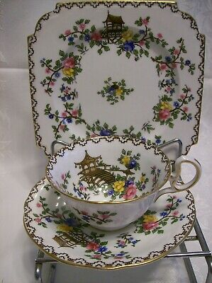AYNSLEY PAGODA  Square PLATE, CUP & SAUCER  #694635 Pagodas/Floral Trim