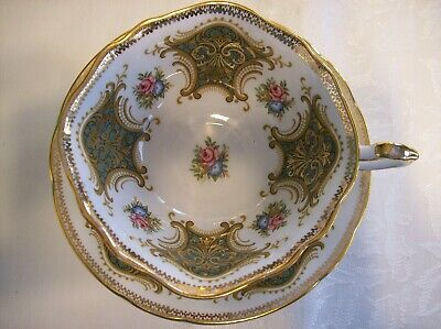 Paragon CUP & SAUCER - White with Pink & Blue Flowers and Green & Gold designs