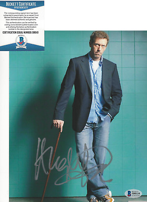 HUGH LAURIE SIGNED AUTHENTIC 'HOUSE MD' 8x10 SHOW PHOTO A ACTOR BECKETT COA BAS