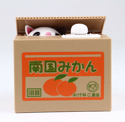 White Automatic Stealing Money Cat Kitty Piggy Bank Coin Saving Box Case Gift