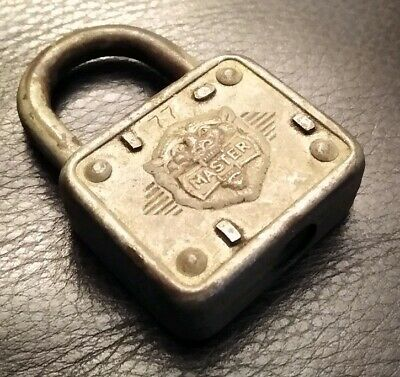 Antique Vintage Master Lock #77 Padlocks Lion Head With No Key Made In Usa