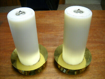 "Pair of 9 1/4"" oil candles with brass stands altar mass church"