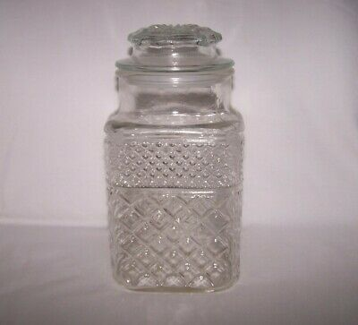 """Anchor Wexford Large 9"""" Flour or Sugar Canister Covered Lid Apothecary Jar"""