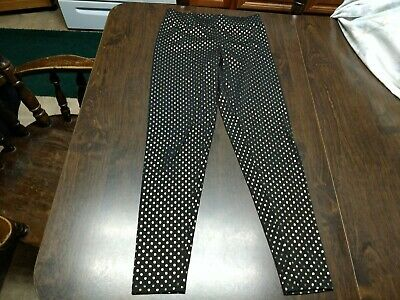 Justice Black With Gold Polka Dots Leggings Size Girl's 14 EUC
