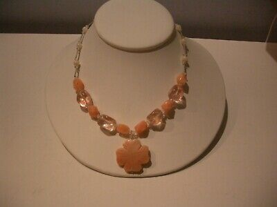 Vintage Salmon Angel Skin Coral Beads  W/Carved Flower Pendant And Beads