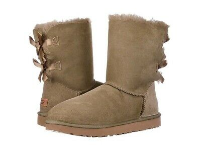 UGG Bailey Bow II antelope Suede Fur Boots Womens Size 10 *NIB*