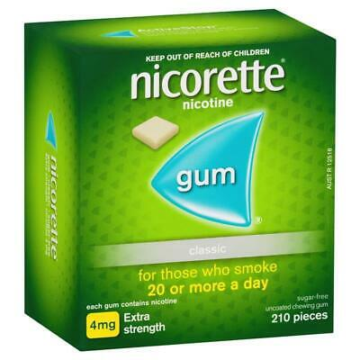 Nicorette Quit Smoking Extra Strength Uncoated Classic Chewing Gum 4mg 210 Piece
