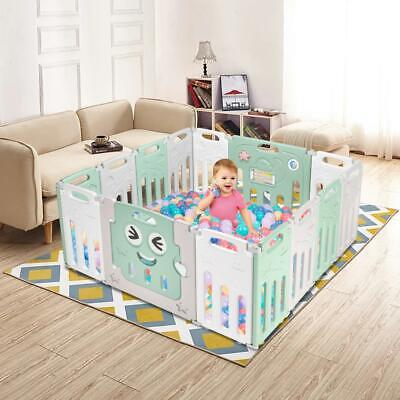 ABST 12+2 Panel Foldable Kids Safety Enclosure Baby Playpen Safety Zone