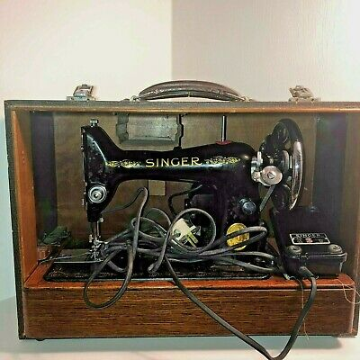 Vintage Singer Sewing Machine  Electric Model cased retro