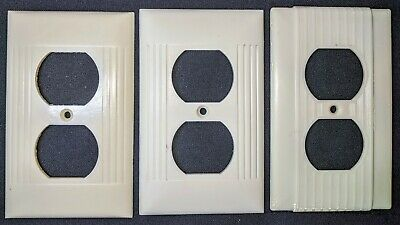 3-Vintage ART DECO IVORY Bakelite OUTLET Wall Plate Cover Mid Century