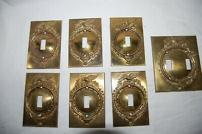 7 Antique Brass Domed Eagle  Light Switch Plates 6 singles 1 Double Unused