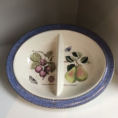 WEDGWOOD Sarah's Garden Queen's Ware | Oval Divided Vegetable Serving Dish Blue