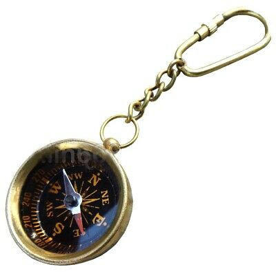 Lot of 10 pcs Brass Compass Keychain, Marine Nautical Key Ring Beautifull ki 319