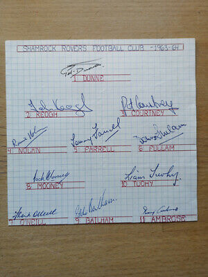 Football: Original autographs of the team of Shamrock Rovers 1963-4