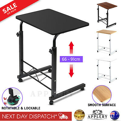 Adjustable Laptop Desk Mobile Computer Stand Table Over Bed Sofa Tray on Wheels