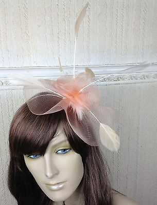 nude peach coral feather hair headband fascinator millinery wedding ascot