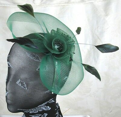 green feather headband fascinator millinery wedding ascot hat hair piece x