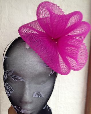 Hot pink fascinator millinery burlesque wedding hat hair piece ascot race