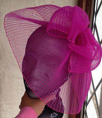 Hot pink fascinator millinery burlesque wedding hat hair piece ascot race bridal