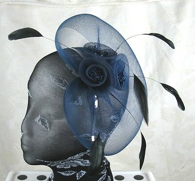 navy blue feather headband fascinator millinery wedding ascot hat hair piece