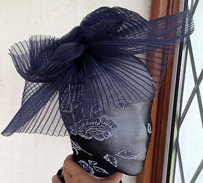Navy fascinator millinery burlesque wedding hat hair piece ascot race bridal