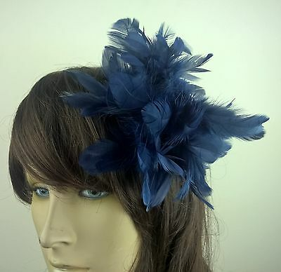 navy blue feather flower fascinator millinery hair clip wedding piece ascot race